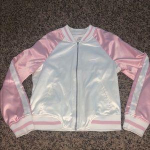 Pink and White Satin Varsity/Letterman's Jacket